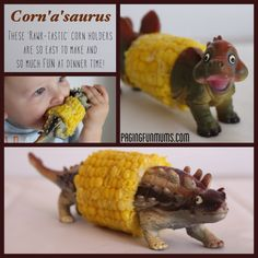 """DIY Dinosaur Corn Cobb Holder Introducing the Corn'a'saurus(Corn-oh-sore-us)– A dinosaur that inhabits dinner plates around the world and possibly some loud """"Rawr's"""" too . """"No real Dinosaurs were harmed in the making of this craft..."""""""