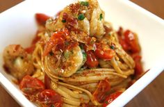 Shrimp Linguini with Sundried Tomato Pesto and Crispy Pancetta