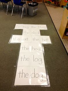 Sight word, CVC word, or phrase hop scotch. Read before you hop!
