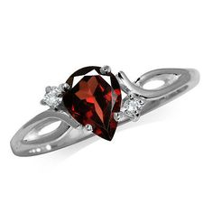 1ct. Natural Garnet & White Topaz 925 Sterling Silver Engagement Ring SZ 6 Sterling Silver Jewelry, Gemstone Jewelry, Silver Rings, Free Gems, Garnet Stone, White Topaz, Purple Amethyst, Heart Ring, Jewels