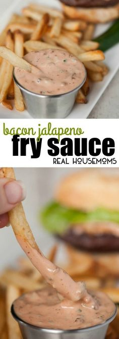 Elevate your french fries, onion rings, sandwiches, and burgers to a whole new level with this quick and easy Bacon Jalapeno Fry Sauce! #Realhouseoms #Frysauce #Baconjalapeno #Frenchfries #Onionrings #Sandwiches #Burgers #Appetizer #Gameday