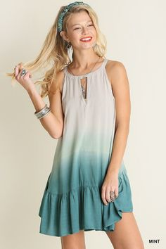 Free and Easy  - Dip dye free and easy style dress in shades of taupe and dip to turquoise/mint.  Sizes S, M, L - $39.99