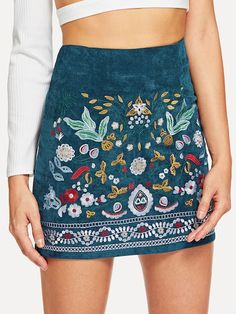 SheIn offers Botanical Embroidered - Mini Skirts - Ideas of Mini Skirts - Shop Botanical Embroidered Cord Skirt online. SheIn offers Botanical Embroidered Cord Skirt & more to fit your fashionable needs. Style Casual, Casual Outfits, Casual Wear, Boho Fashion, Fashion Outfits, Womens Fashion, Feminine Fashion, Fashion Fall, Fashion Trends