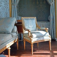 """A Gustavian armchair in the King's Bedroom by the great chair maker Eric Öhrmark who made most of the chairs in Gustaf III's pavilion at Haga,"" from Håkan Groth's Instagram (7 May 2016)."