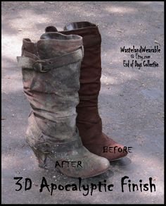 Post APOCALYPTIC BOOTS Brown Faux Suede LEATHER Wastelander Boots FAllout Boots Womens 10 Zombie Boots Mad Max Boots by…