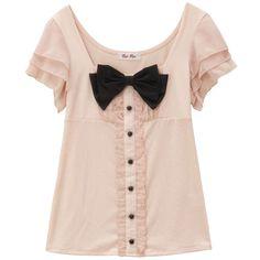 大きなリボンに胸キュン! 異素材mixのプルオーバー-eruca.[エルーカ]-アイテム詳細 ❤ liked on Polyvore featuring tops, blouses, shirts, blusas, pink top, pink blouse, shirt tops, pink shirts and shirt blouse