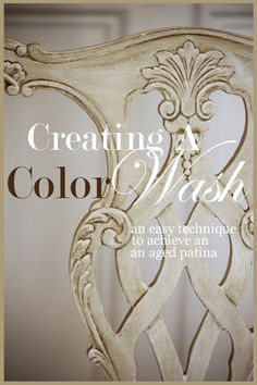 As promised, today I am sharing a very easy and very beautiful painting effect. The technique is called COLOR WASH With very little practice you can create some stunning outcomes… Here is a chair I am working on using the color wash technique… A color wash should be done with one dark and one lighter …