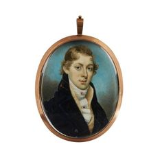 """Charles Henard (French, 1757- after 1808) <br />  <br /> portrait miniature of a gentleman <br />  <br /> Oval miniature on ivory depicting a gentleman in blue coat and knotted cravat, in gilt metal frame; together with Nicholas Freese (English, 1794-1824), portrait miniature of a gentleman in a white cravat with gem set pins and a blue coat, the reverse with plaited hair centered by a seed pearl monogram """"WMI"""". (2). <br />  <br /> H: 2 3/4 in. <br />  <br />  <br />  <br /> PROVENANCE: <br…"""