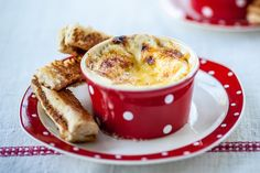 This tasty cheesy baked eggs recipe by Alyn Williams features savoury Marmite Soldiers to dip into the eggs Marmite Recipes, Egg Recipes, Light Recipes, Brunch Recipes, Cooking Recipes, Vegetarian Recipes, Recipies, Healthy Recipes, Breakfast King