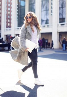 Stretch leather leggings and grey mohair coat.