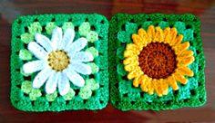 tejidos artesanales en crochet: como tejer un cuadrado con flores