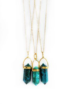 CHRYSOCOLLA point necklace by shopkei on Etsy, $56.00