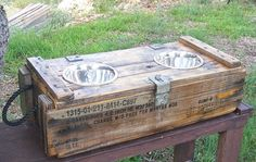 AMMO BOX Elevated Dog FEEDER by cedillg on Etsy, $115.00