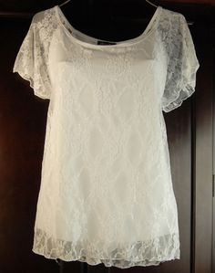 d2f141235a5 New White Lined Stretch Lace Top Plus Size 3X 20 22 Brittany Black Romantic!