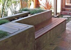 Outdoor storage bench and planter in one