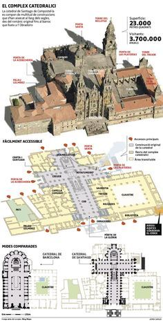 Cathedral of Santiago de Compostela Detail Architecture, Cathedral Architecture, Plans Architecture, Architecture Concept Drawings, Gothic Architecture, Historical Architecture, Ancient Architecture, Architecture Religieuse, Romanesque Art