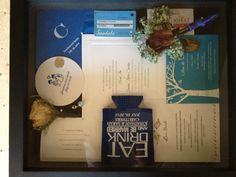 Wedding Shadow Box Ideas - Include invitation, save the date, flowers, personalized napkins, coasters, and koozies, key card from honeymoon hotel as momentos of your wedding.