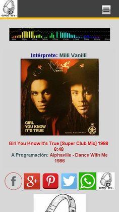 """SIETE EN FILA [Del Género New Wave & Synth Pop] Milli Vanilli - Girl You Know It's True [Super Club Mix] 1988 Lunes y Jueves 8:00 de la noche por euro80s.net """"Tu Mejor Opción"""" MD-80's"""