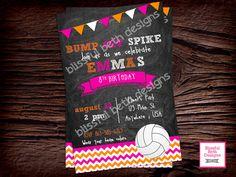BUMP SET SPIKE Volleyball Birthday Invitation, Printable Volleyball Birthday Invitation, Volleyball Birthday Invite, Volleyball by BlissfulBethDesigns on Etsy