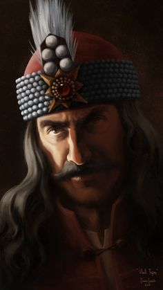"""A painting in a series depicting historic figures in Romanian history. Vlad Tepes (""""The Impaler"""") was a prince of Vallachia in the middle His cruel methods gave him an aura of savagery and terror, but were very effective in eradicating Bram Stoker's Dracula, Count Dracula, Vlad Der Pfähler, Vampires, Vlad The Impaler, Beautiful Dark Art, Legends And Myths, Vampire Hunter, Tattoo Project"""