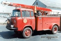 Jeep Forward Control trucks were modified for a variety of special-purpose applications; see Chicago FD's Jeep FC Units for some fire service examples. But given their small size, FC's weren't often used by fire departments as an aerial ladder platform; the FC-170 DRW seen here may be a unique mini-aerial Jeep fire truck.