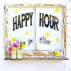 Happy Hour Upcycled Window - Free template and instructions including the cocktail caddy