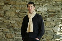 Pure silk beige hand knitted scarf silk scarf for men by linarekl, $209.00