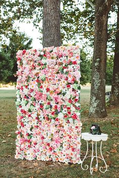 Rustic Romantic in Virginia's Blue Ridge Mountains, Floral Photo Booth Backdrop | Brides.com