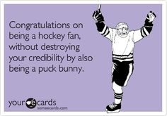 Congratulations on being a hockey fan, without destroying your credibility by also being a puck bunny.