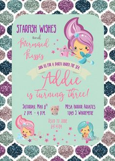Under the Sea Mermaid Fishes Kawaii Printable Personalized Birthday Party Invitation File