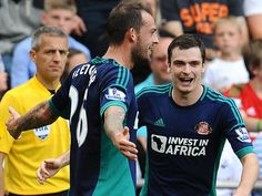 Steven Fletcher celebrates a two-goal Premier League debut for Sunderland