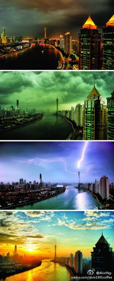 One place but different views, An image taken at different times but in the same spot in Guangzhou city, China.