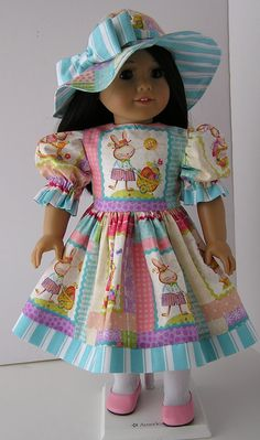 "Happy Easter Dress and Bonnet for 18"" Doll"