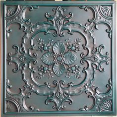 pl19 faux tin antique cyan ceiling tile 3d embossed - Cyan Cafe Interior