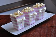Pink Stripe Mini Popcorn Boxes with Bows. by ConfettiMommaParty