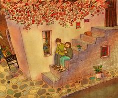 We sat on the stairs and I had an ice cream Do you want some? No, I'm fine. I'll watch you eating. Love Illustration, Painting Competition, Korean Picture, Puuung Love Is, Korean Artist, Painting, Cute Couples, Art, Beautiful Art