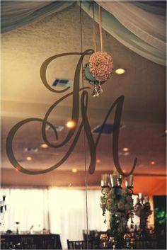 Monogram initials on mirror at wedding reception