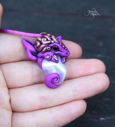 Amethyst baby dragon pendant - purple violet gold necklace - mineral amulet pendant - fantasy - wiccan necklace - polymer clay jewelry by GloriosaArt