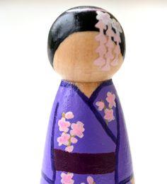 Wooden Peg Doll - Girl in Kimono. $15.00, via Etsy.