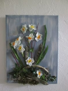 Tableau avec fleurs artificielles,collage, printemps, 3D, art floral, composition florale, mariage, cadeau : Décorations murales par boutik08