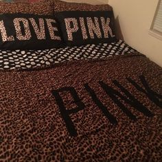 "Victoria's Secret pink bed set Comes with a king size leopard/polka dot duvet cover, 2 King size all leopard pillow cases, and 2 black leopard ""love pink"" pillow cases. I also have more of the black leopard pillow cases available if needed for an extra fee. Or I'll trade for one of the comforter sets below. PINK Victoria's Secret Other"