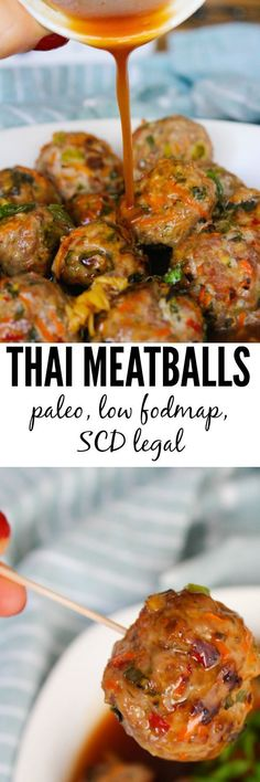 Jumbo baked Thai meatballs packed with fresh flavors and paired with a simple chili sauce. Low FODMAP, Paleo and SCD approved.
