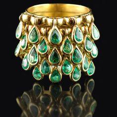 Emerald Dangle Cuff Bracelet