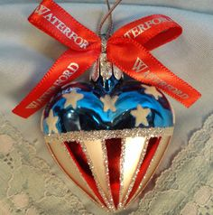 Waterford Christmas Ornament Heart American Flag Stars and Stripes Patriotic USA