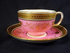Minton Pink and Raised Gilt Tea Cup and Saucer Circa 1910