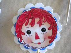 12 Raggedy Ann Anne 3D Handmade Cupcake Toppers Birthday Party ...