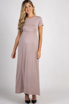 Mocha Solid Side Pocket Maxi Dress