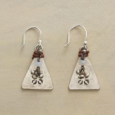 """TIED TRIANGLE EARRINGS--Stamped Thai silver triangles with a twist of leather are weighty counterpoints to moonstone and bead accompaniments. Sterling silver French wires. Handmade Sundance exclusive. 1-1/8""""L."""