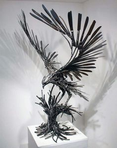 Metal eagle made from knives