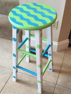 Blue and green chevron stool